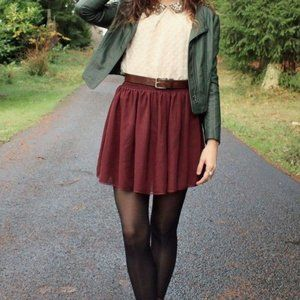 Brandy Melville Luma Flowy Mini Skirt Burgundy